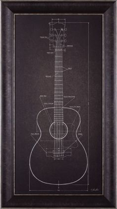 Art Effects 'Acoustic Guitar Blueprint' by Lauren Rader Framed Graphic Art Acoustic Guitar Case, Guitar Wall, Guitar Room, Guitar Art Diy, Acoustic Guitar Tattoo, Music Room Art, Home Music Rooms, Music Studio Decor, Guitar Storage