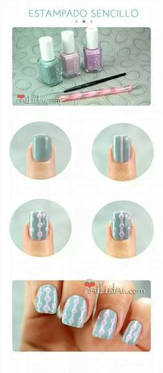 Easy nail art // retro inspiration pattern by denimmeriah Cute Nail Art, Nail Art Diy, Easy Nail Art, Diy Nails, Nail Nail, Nail Polishes, Fancy Nails, Love Nails, How To Do Nails