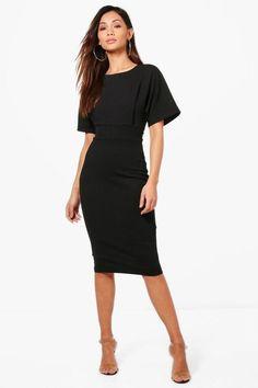 31129f8d82 Boohoo Petite Tie Waist Formal Midi Dress Black Size UK 12 rrp 22 DH181 QQ  07