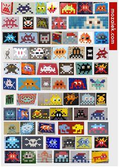 Kom naar de eerste space invader workshop dinsdagavond 23 april 2013 bij mozaiek in utrecht | 5 euro deelnamekosten | materiaalkosten 15ct per steentje Invader Paris, Space Invaders, Art Plastique, Hama Beads, Arm Tattoo, Pixel Art, Nerdy, Opera, Graffiti