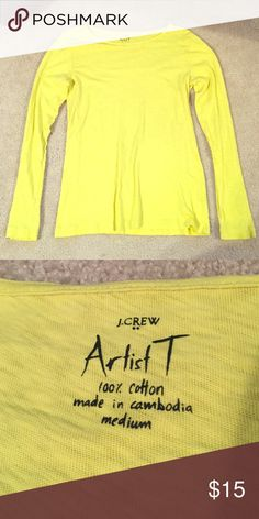 "J. Crew ""Artist T"" Long Sleeve Bright Yellow Long sleeve, worn once. Great condition!! J. Crew Tops Tees - Long Sleeve"