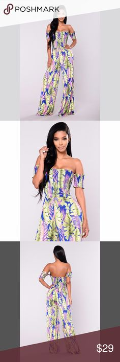 Seychelles Floral Jumpsuit - Royal/Green Smocking Off Shoulder Venezin Tropical Print  95% Polyester 5% Spandex. Fashion Nova Pants Jumpsuits & Rompers