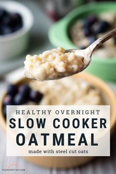 - Overnight with Steel Cut Oats We start cooking this slow cooker oatmeal when we go to sleep, and when we wake up, we have a healthy breakfast ready! This overnight slow cooker oatmeal recipe uses steel cut oats. It s unbelievably creamy! Recipe on . Crock Pot Recipes, Slow Cooker Recipes, Crockpot Meals, Slow Cooker Oats, Slow Cooker Breakfast, Overnight Breakfast, Breakfast Cooking, Cooking Oatmeal, Breakfast Items