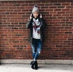 Blanket scarf & pom pom hat | Just Becky