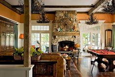 Furniture Rustic Family Room Stone Fireplace Designs Billiard Table Brilliant Stone Fireplace Design Both in Classic and Modern Style Farmhouse Family Rooms, Farmhouse Fireplace, Fireplace Mantles, Rustic Fireplaces, Fireplace Modern, Country Fireplace, Country Farmhouse, Farmhouse Decor, Fireplace Windows