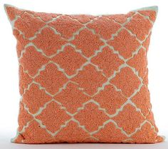 """Orange Medallion - Orange 16""""X16"""" Cotton Linen Throw Pillows Cover"""