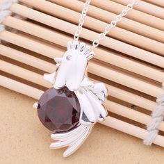 Sale Chicken Hen Pendant Necklace Fashion Jewelry with Stone 925 Sterling Silver Expiring Soon... Less than $5