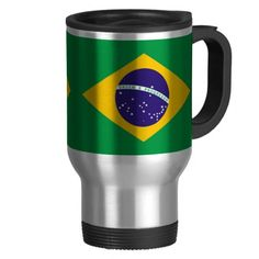 Brazil flag Brazilian travel mug