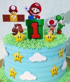 - Oh My Fiesta! for Geeks Mario Birthday Cake, Super Mario Birthday, Super Mario Party, Birthday Cake Toppers, Bolo Do Mario, Bolo Super Mario, Super Mario Bros, Lego Mario, Mario Bros.