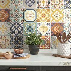 Removable Backsplash, Peel Stick Backsplash, Peel And Stick Tile, Decorative Tile Backsplash, Stove Backsplash, Backsplash Panels, Spanish Design, Spanish Style Homes, Modern Spanish Decor