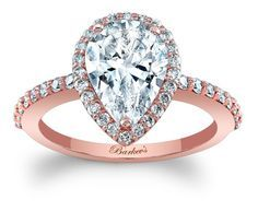 Barkev's Pear Shaped Halo Rose Gold Engagement Ring - 7994LPW