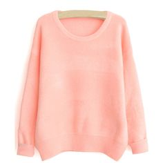 SheIn(sheinside) Pink Round Neck Loose Sweater ($16) ❤ liked on Polyvore featuring tops, sweaters, shirts, pink, red long sleeve shirt, red pullover sweater, long sleeve pullover, long sleeve sweaters and pullover sweater