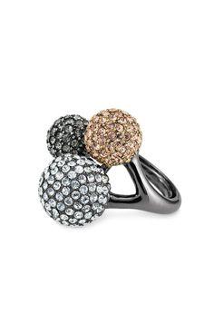 Black Diamond, Glass & Crystal #Cocktail #Ring | Soiree Trio Ring #sdNightOut