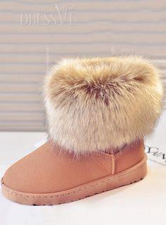 4d40d7644cc0 Fake Furry Rubber Sole Flat Heel Women Snow Boots