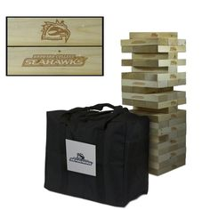 Show off your Broward Seahawks spirit with this Giant Jenga-Style wooden tumble tower game! The wood blocks are laser engraved with the Broward Seahawks logo as shown in the product image. This large