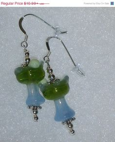 925 Sterling Silver It's #Margarita Time #Dangle  Earrings  Made with blown #glass 20mm x 12mm  little  Blue and green Margarita Drink glass beads,  5mm Antiqued Bali silver... #bling #dsmenagerie #earrings #jewelry #dangle #fun #unique #easter #springtime #margarita