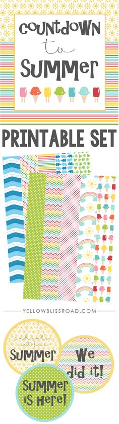 Countdown to Summer Printable Set with tear off paper chain