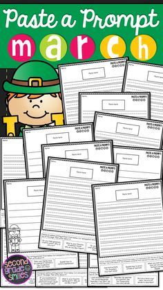 March Paste a Prompt (Writing Prompts) - motivate reluctant writers by offering elements of choice while still ensuring that students practice personal narrative, informative/expository, opinion, descriptive, and creative writing $