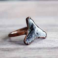 Fossil Shark Tooth and Copper Ring | Bohemian Gypsy Jewelry | Boho Festival Jewellery | Hippie Fashion Style | Indie and Harper