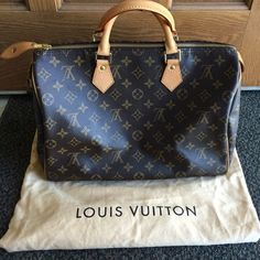 Louis Vuitton Speedy 35 Louis Vuitton Speedy 35 in classic monogram canvas.  Purchased from the Paris flagship store in Spring 2007.  This bag shows some signs of wear on the leather handles, trim, tabs, and interior (there is a stain and small pen mark), but is still in great condition. ⚡️Please see additional photos in my closet.⚡️Comes with dust bag and base shaper (purchased separately). ⛔️Price is firm even when bundled. No trades.⛔️ Louis Vuitton Bags