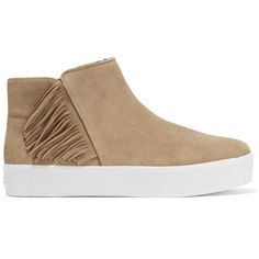 Rebecca Minkoff Stella fringed suede sneakers (2 745 UAH) ❤ liked on Polyvore featuring shoes, sneakers, nude, zipper sneakers, round cap, zip shoes, suede sneakers and suede leather shoes
