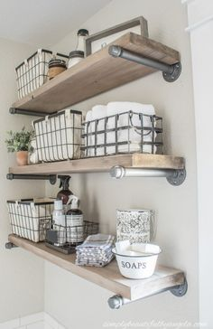 Industrial Pipe Shelves Happy Monday friends--I hope you all had a nice weekend! Ours was fun but super busy so it went by entirely too quickly. Today I am sharing the final DIY project from the master bathroom makeover! Laundry Room Shelves, Shelves In Bedroom, Bathroom Shelves, Solid Wood Shelves, Small Shelves, Industrial Pipe Shelves, Industrial Farmhouse, Diy Pipe Shelves, Industrial Furniture