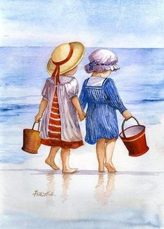 Faye Whittaker All Our Yesterdays homepage - Faye Whittaker Arts All Our Yesterdays Cross Stitch and Original Art Wesbsite Seaside Art, Beach Art, Art Plage, Art Vintage, Vintage Modern, Pictures To Paint, Stone Painting, Watercolor Paintings, Watercolor Sketch