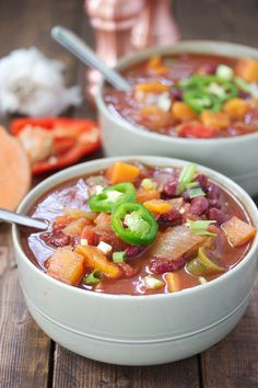 Browsing through my soups/stews page, all but one of my recipes in the category has meat in it. Now, we do eat a fair amount of good quality animal protein in this house, but we also eata lotof veggies! I wanted to make a chili that has all mypopular traditional chili flavors, but one that …