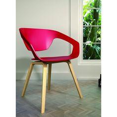 lot de 2 chaises design scandinave danwood rouge et bois clair rouge ambiance - Chaise Eleven Patchwork Colors