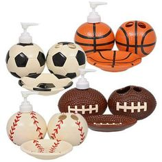 The perfect bathroom accessories for any sports lover. Dolomite bathroom accessories come assorted among football soccer baseball and basketball designs and among soap dish lotion dispenser and