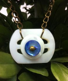 Mother of Pearl Vintage Buckle and Button Pendant
