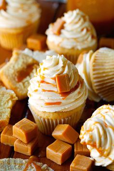 Salted Caramel Cupcakes and 10 Delicious Recipes for your Bridal Shower on @intimatewedding Photo by @deliciouslyyum #weddingfood #cupcakes #bridalshowercupcakes