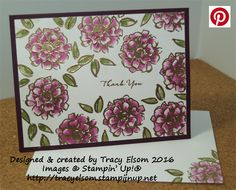 Thank you card created using the FREE What I Love Stamp Set from the Stampin' Up! 2016 Sale-A-Bration Catalogue.  http://tracyelsom.stampinup.net