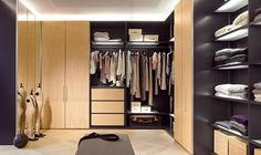 10 Best Dream Modern Lifestyle Walk-In Closet Designs. Modern Creamy Brown and Black Walk-In Closet with Tidy Storage Wardrobes and Drawers plus Hanging Clothes Rod and also LED Hidden Lights Master Bedroom Closet, Bedroom Wardrobe, Bedroom Black, Bedroom Corner, Corner Wardrobe Closet, Walk In Wardrobe Design, Black Wardrobe, Wardrobe Storage, Closet Shelving
