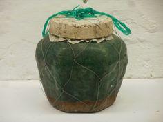 Green glazed stoneware Ginger Jar with plastic netting. Ginger Jars, 21st Century, Stoneware, Glaze, Plastic, Ceramics, Pattern, Enamel, Ceramica
