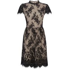 Oasis Gothic Lace Dress, Black (€81) ❤ liked on Polyvore featuring dresses, short sleeve maxi dress, black midi dress, midi cocktail dress, black maxi dress y high neck cocktail dress