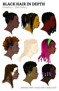 Drawing Hair Techniques How to draw Dreadlocs! See Part One: Rendering Natural Black Hair Coming Up Next: VOTE by sending to my Ask box! (Until March Feel free to suggest any style or subject matter within drawing. Character Inspiration, Character Art, Character Design, Character Profile, Black Women Art, Black Art, Natural Hair Art, Natural Hair Styles, Anime Negra