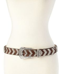Another great find on #zulily! Brown Arrow Crystal Leather Belt by Nocona Belt Co. #zulilyfinds
