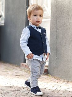Baby boy Occasion wear-- Trendy cute Occasion Wear Outfit : Waistcoat + Shirt + Bow Tie + Trousers, for Boys – blue dark solid Baby Outfits, Little Boy Outfits, Toddler Outfits, Kids Outfits, Little Boy Dress Clothes, Baby Boys Clothes, Boys Dress Outfits, Toddler Boy Fashion, Little Boy Fashion