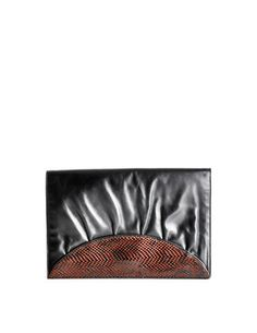 e8413fe203f Fendi Vintage Black and Brown Leather Clutch Purse
