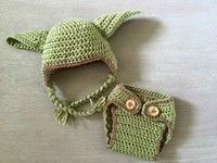 Wish | 2016 Newborn Boy Star Wars Yoda crochet hat and diaper cover set Baby Boy photography props Baby Set outfits Baby Fotos Green