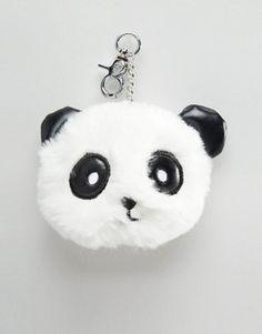 New Look Panda Fur Pom Pom Keychain