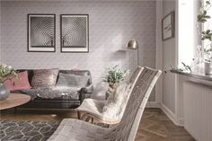 """Comfortable and soft living room decoration finishd with 4"""" zip connection classic white porcealin triangle tile, adding a modern and geometric look to space.  #interiordesign #homedecor #homeimprovement #wall #renovation"""
