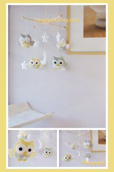 Owl Mobile - Baby Mobile -  Nursery Decor - Custom Mobile - Sage Green Powder Yellow Gray White Soft theme(Custom color available) on Etsy, $88.00