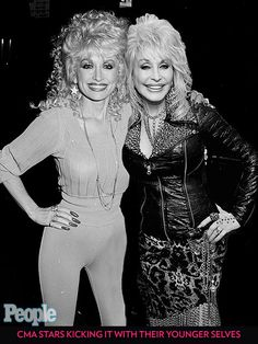 CMA Stars Kicking It with Their Younger Selves | DOLLY PARTON | If it wasn't for the slightly dated jumpsuit and massive perm, we wouldn't know which adorable Parton was younger.