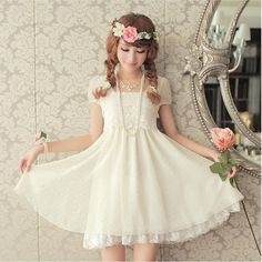 cute white dress with lace, sweet looking, japanese fashion