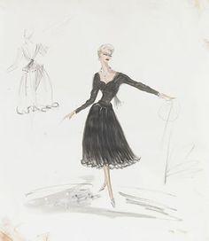 Edith Head Costume Sketch for Kim Novak - Vertigo