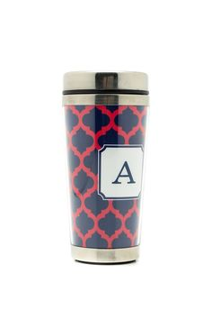 16 oz. metal and acrylic travel mug converts from personalized mug to cocktail shaker. Choose from Beach Stripe or Panthea design.