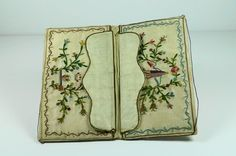 Antique 18th Century Silk Embroidered Pocketbook 1760's