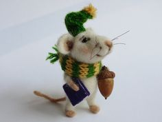 Needle felted Mouse. Mouse with Book and Acorn. Tiny felted Mouse. Winter Mouse. Gift by OlgaHappyHandmades on Etsy